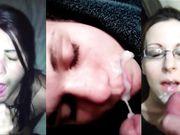 Compilation vidéo avec plusieurs éjaculations sur le visage de filles excitées